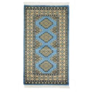 パキスタン 手織 ウール 絨毯 9×16 ブルー系 玄関マットサイズ 約69×120cm