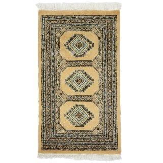 パキスタン 手織 ウール 絨毯 9×16  ベージュ系 玄関マットサイズ 約61×107cm