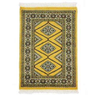パキスタン 手織 ウール 絨毯 9×16  イエロー系 玄関マットサイズ 約63×90cm