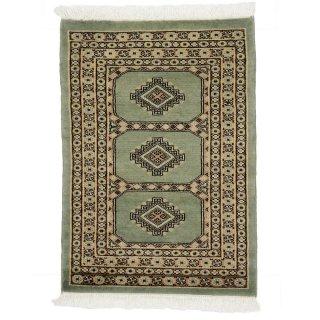 パキスタン 手織 ウール 絨毯 9×16  グリーン系 玄関マットサイズ 約65×91cm