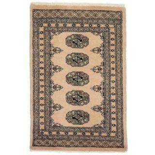 パキスタン 手織 ウール 絨毯 9×16  ベージュ系 玄関マットサイズ 約65×97cm