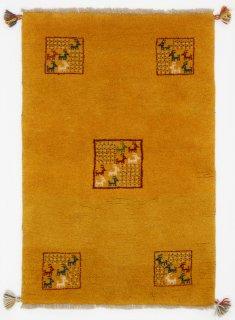 ペルシャンギャッベ ザロチャラク 玄関マット80×120サイズ 76×111cm イエロー系