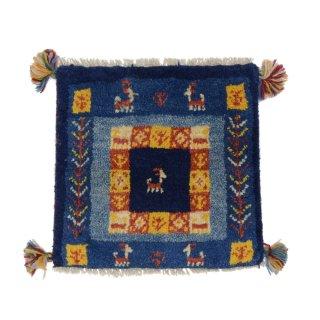 ペルシャンギャッベ ブルー系 座布団サイズ 約39×38.5cm
