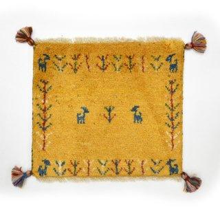 ペルシャンギャッベ イエロー系 座布団サイズ 約38×43.5cm