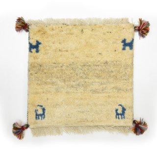 ペルシャンギャッベ ベージュ系 座布団サイズ 約38.5×40.5cm