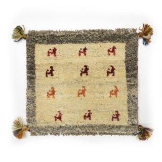 ペルシャンギャッベ ベージュ系 座布団サイズ 約37×41.5cm