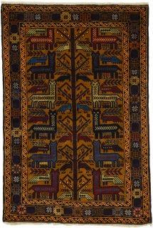 アフガンバルーチ アフガントライバル 動物柄 約94×138cm