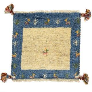 ペルシャンギャッベ ブルー系 座布団サイズ 約40×38cm
