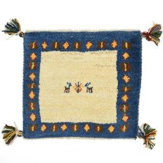 ペルシャンギャッベ ブルー系 座布団サイズ 約41×36.5cm