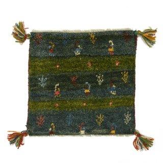 ペルシャンギャッベ グリーン系 座布団サイズ 約40.5×38cm