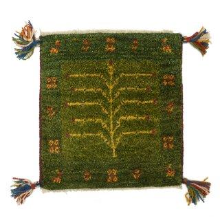 ペルシャンギャッベ グリーン系 座布団サイズ 約39.5×38cm