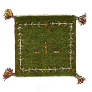 ペルシャンギャッベ グリーン系 座布団サイズ 約40.5×39.5cm