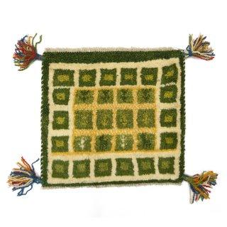 ペルシャンギャッベ グリーン系 座布団サイズ 約39×35.5cm