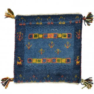 ペルシャンギャッベ ブルー系 座布団サイズ 約39.5×39cm