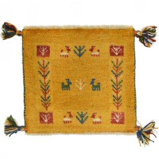 ペルシャンギャッベ イエロー系 座布団サイズ 約39×36.5cm