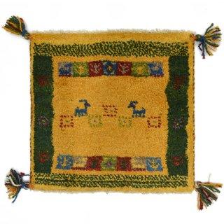 ペルシャンギャッベ イエロー系 座布団サイズ 約42×41cm