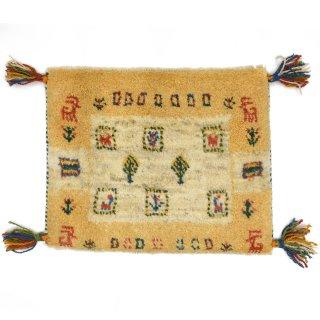 ペルシャンギャッベ イエロー系 座布団サイズ 約46.5×37cm