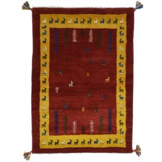 ペルシャンギャッベ ザロチャラク 玄関マット80×120サイズ 83.5×118cm レッド系