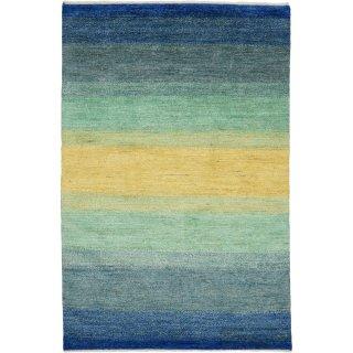 パキスタン 手織 ガゼニー ウール 絨毯 ブルー系 7×9 約140×200�