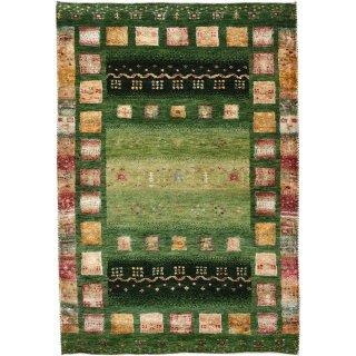 インド手織ギャッベ 「ディーヤバンブー」 グリーン系 玄関マットサイズ 約80×120cm