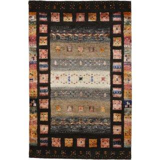 インド手織ギャッベ 「ディーヤバンブー」 ブラウン系 玄関マットサイズ 約80×120cm