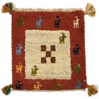 ペルシャンギャッベ レッド系 座布団サイズ 約37.5×40cm