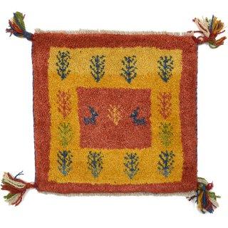 ペルシャンギャッベ レッド系 座布団サイズ 約40×38cm