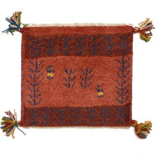 ペルシャンギャッベ レッド系 座布団サイズ 約38×38.5cm