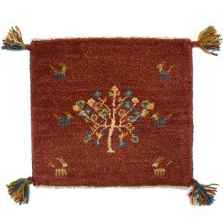 ペルシャンギャッベ レッド系 座布団サイズ 約40.5×36cm