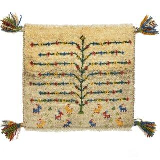 ペルシャンギャッベ ベージュ系 座布団サイズ 約42.5×37.5cm