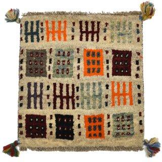 ペルシャンギャッベ ベージュ系 座布団サイズ 約41×43.5cm