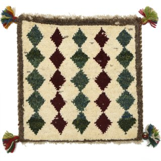 ペルシャンギャッベ ベージュ系 座布団サイズ 約41×39.5cm