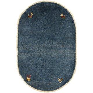 ペルシャンギャッベ  玄関マット オーバル 小判型 52×80cm ブルー系