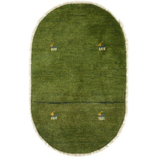 ペルシャンギャッベ  玄関マット オーバル 小判型 52×80cm グリーン系