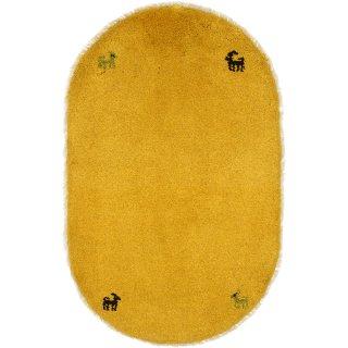 ペルシャンギャッベ  玄関マット オーバル 小判型 52×82cm イエロー系