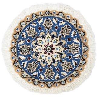 ペルシャ絨毯 ナイン 円形 マット シート 直径約40cm ブルー系