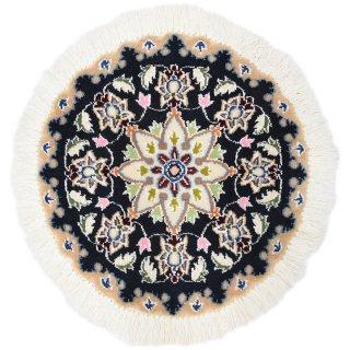 ペルシャ絨毯 ナイン 円形 座布団サイズ マット シート 直径約40cm ネイビー系