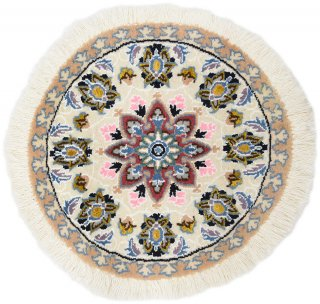 ペルシャ絨毯 ナイン 円形 座布団サイズ マット シート 直径約40cm アイボリー系