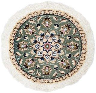 ペルシャ絨毯 ナイン 円形 座布団サイズ マット シート 直径約40cm グリーン系