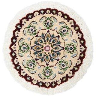 ペルシャ絨毯 ナイン 円形 座布団サイズ マット シート 直径約40cm ベージュ×エンジ
