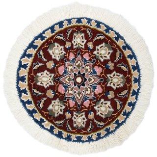 ペルシャ絨毯 ナイン 円形 座布団サイズ マット シート 直径約40cm エンジ