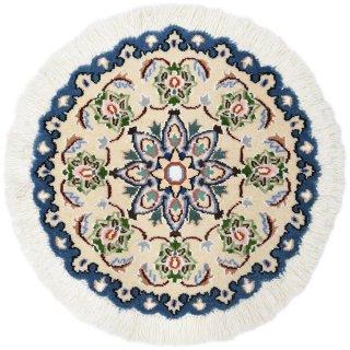 ペルシャ絨毯 ナイン 円形 座布団サイズ マット シート 直径約40cm ベージュ×ブルー