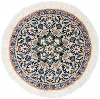 ペルシャ絨毯 ナイン 円形 座布団サイズ マット シート 直径約40cm ベージュ系