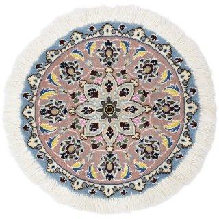 ペルシャ絨毯 ナイン 円形 座布団サイズ マット シート 直径約40cm ローズ×ブルー