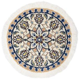 ペルシャ絨毯 ナイン 円形 座布団サイズ マット シート 直径約40cm ベージュ