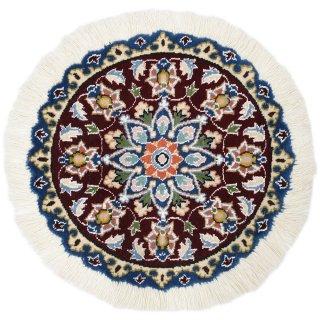 ペルシャ絨毯 ナイン 円形 座布団サイズ マット シート 直径約40cm エンジ×ブルー