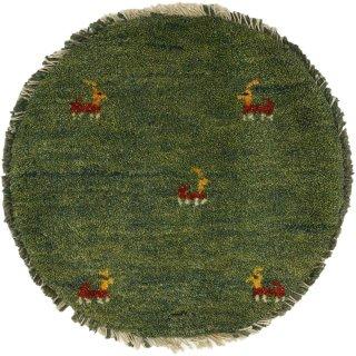 ペルシャンギャッベ ねこギャベ グリーン系 円形 座布団サイズ 直径約40cm