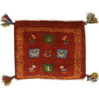 ペルシャンギャッベ 座布団サイズ 約40×40cm レッド系