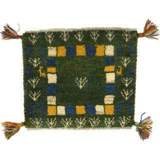 ペルシャンギャッベ 座布団サイズ 約40×40cm グリーン系