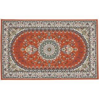 高級ウィルトン織 ペルシャ柄 玄関マット コーラル 75×120cm